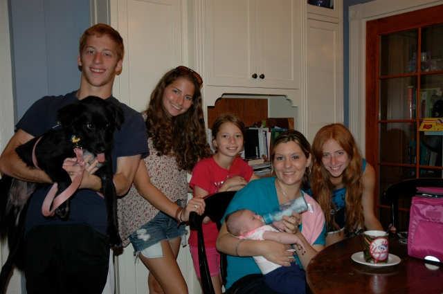 kids and puppy with our old babysitter (and now dear friend) and her baby