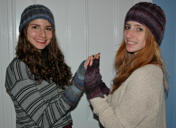 knit ribbed hats and fingerless mittens