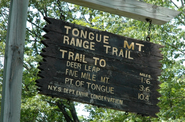 Lake George, NY, sign at the entrance to Tongue Mountain