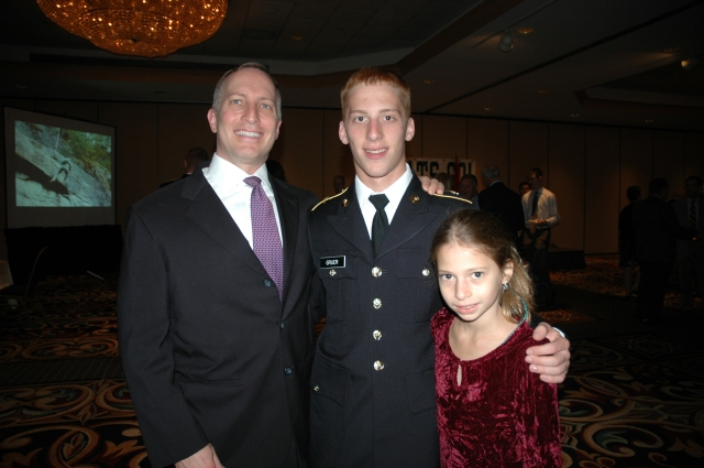 My son with proud dad and sister.