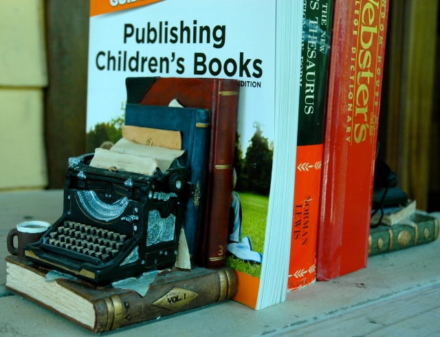 My favorite bookends feature a typewriter, books...