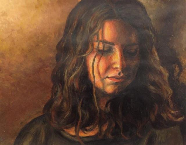 Self portrait, oil paints.