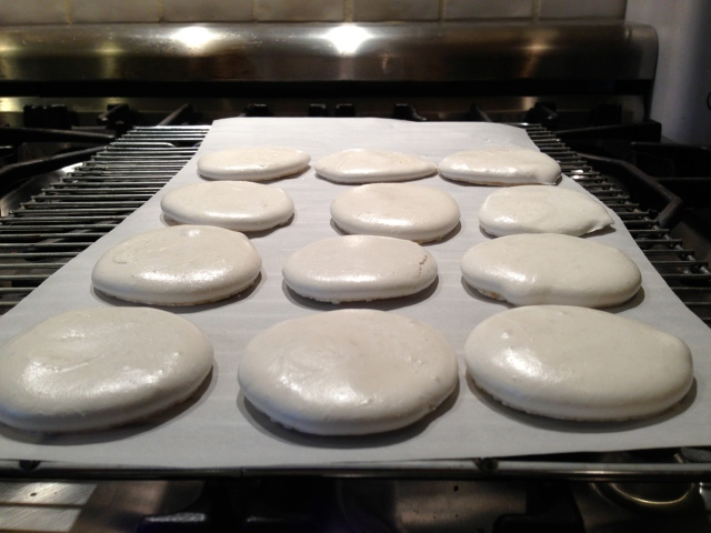 Meringues out of the oven.