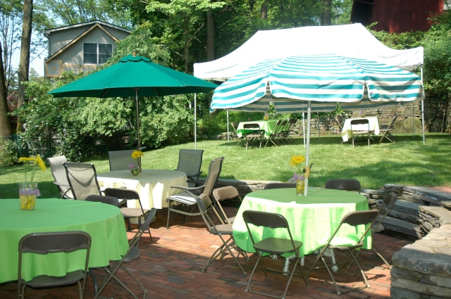 I used alternating green and yellow linens.