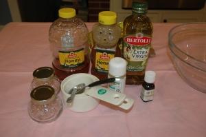 Ingredients for body scrub.