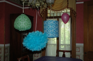 Lanterns and tissue paper .flower in the dining room