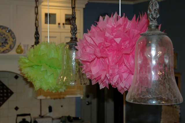 Tissue paper flowers in the ,kitchen