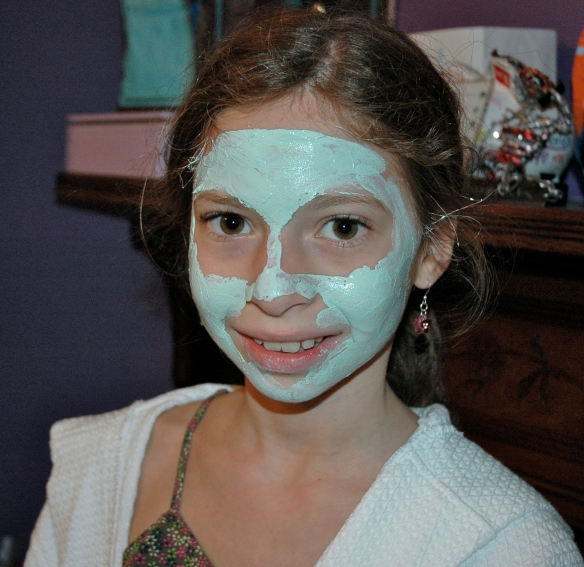 Tween Daughter with avacado mask
