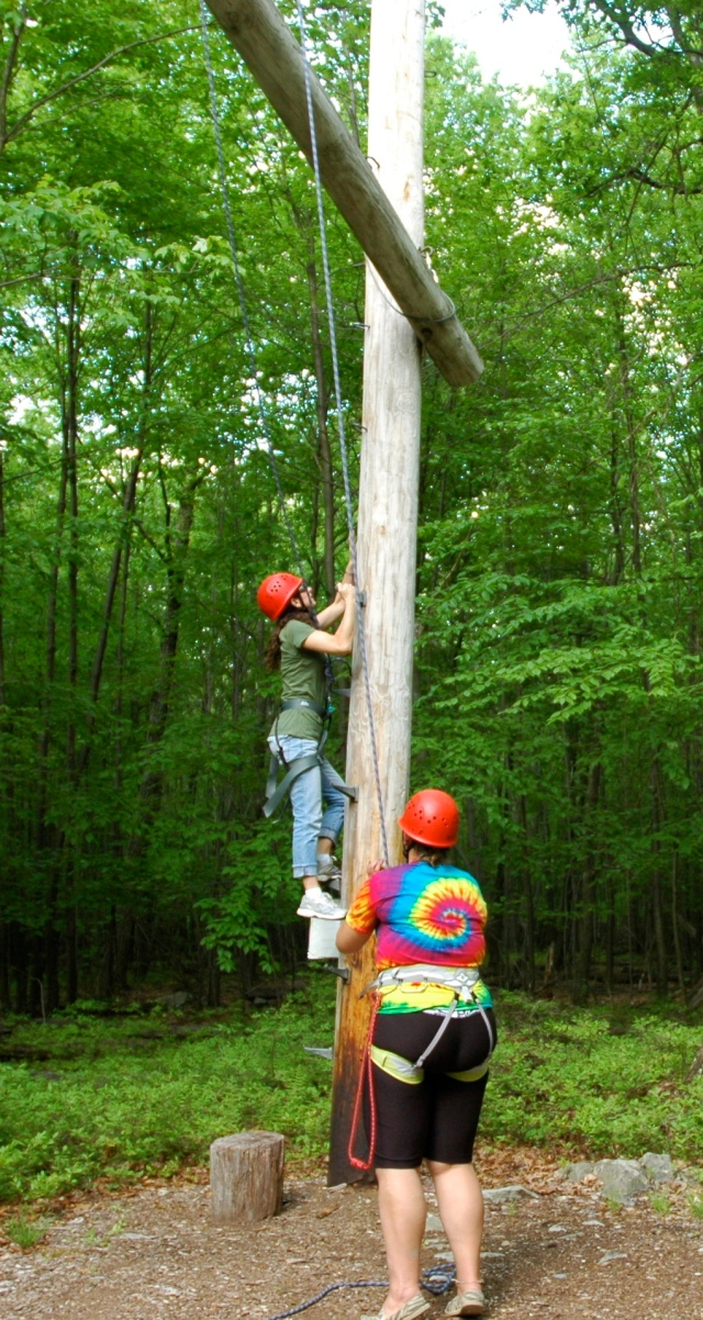 The start of the ropes course.