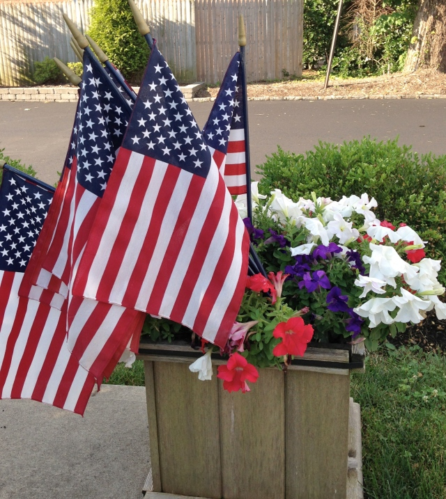 Flags in front of the American Legion post.