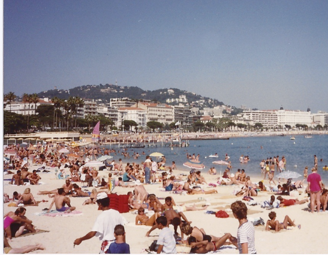 Sunbathers in summer of 1988. Nice, France