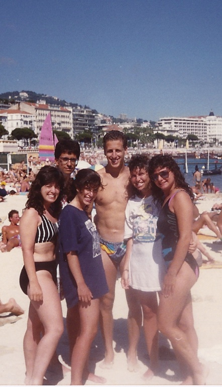 Nice, France, 1988, I'm on the right in the black whole piece. Ilene is wearing a white t-shirt.  The blonde guy in the Speedo was someone we met that day. The other three people are other student backpackers.  Peter is not pictured in any of these photos.
