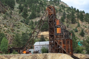 An old, abandoned gold mine