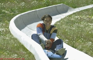 Alpine Slide image found on the internet.  I don't know this woman but she looks like she's having fun.