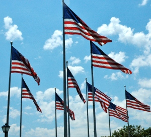 Flags fly at Liberty State Park.