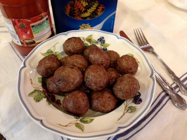 Meatballs ready to simmer in your sauce of choice.