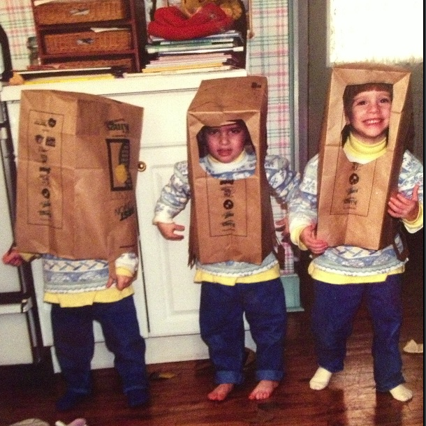 Dressing up in grocery bags but one is windowless!
