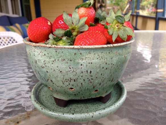 Wheel thrown berry bowl with plate.