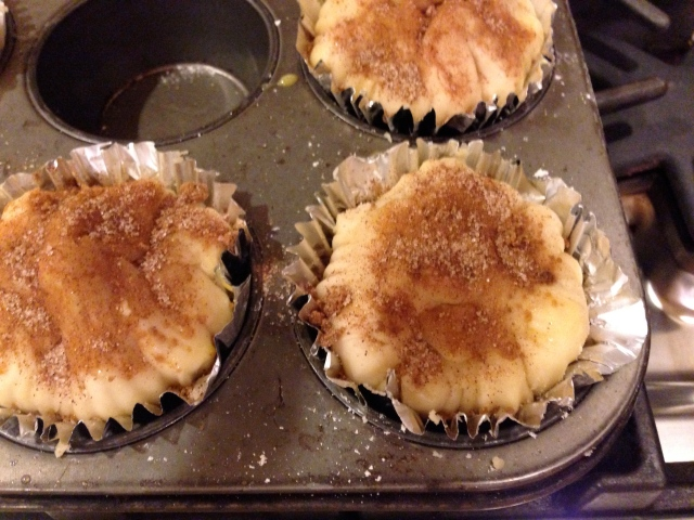 Sprinkle a sugar/ cinnamon mixture on top and bake.