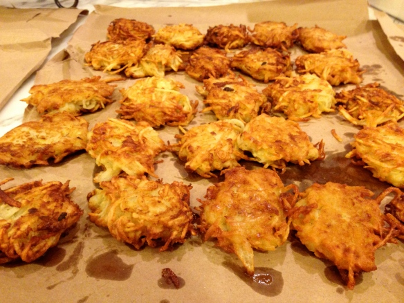Drain latkes on brown paper bags to retain their crispiness.