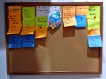 Bulletin board with book ideas.