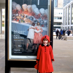 My Plus One outside of LIncoln Center, NY after seeing the opera, Hansel and Gretel, 2009