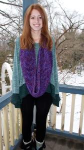Infinity Scarf knit with chunky merino wool.
