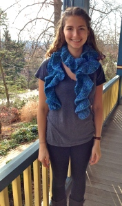 Potato Chip Scarf knit with chunky merino wool.