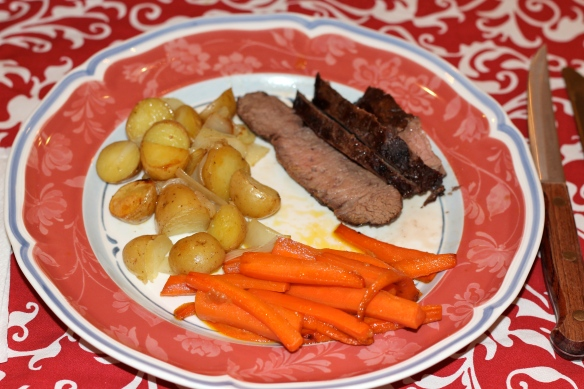 London broil, roasted potatoes and gingery sauteed carrots.