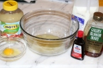 2. Mix wet ingredients in a separate bowl.
