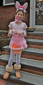Tween Daughter dressed up as the Easter Bunny.
