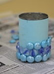 5. Apply glass marbles in rows  from the bottom up.
