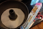 6. Before pouring batter into Bundt pan, spray non-stick spray and possibly line bottom with parchment paper.