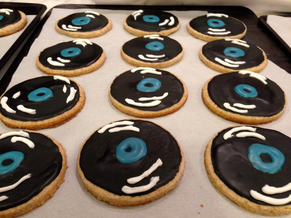 Do you like these record player cookies?  I paint each one to look like it's turning.