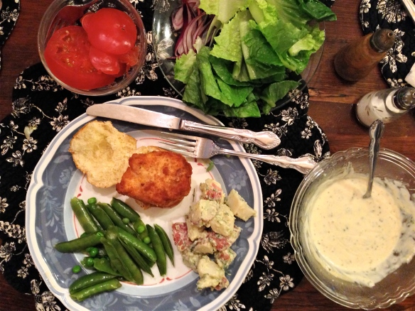 Chicken Slider, Potato Salad and String Beans