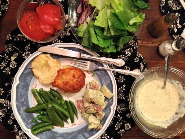 Chicken Slider, Potato Salad and String Beans