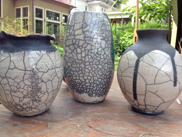 Maxine's wheel-thown vases.  Isn't the crackling cool?