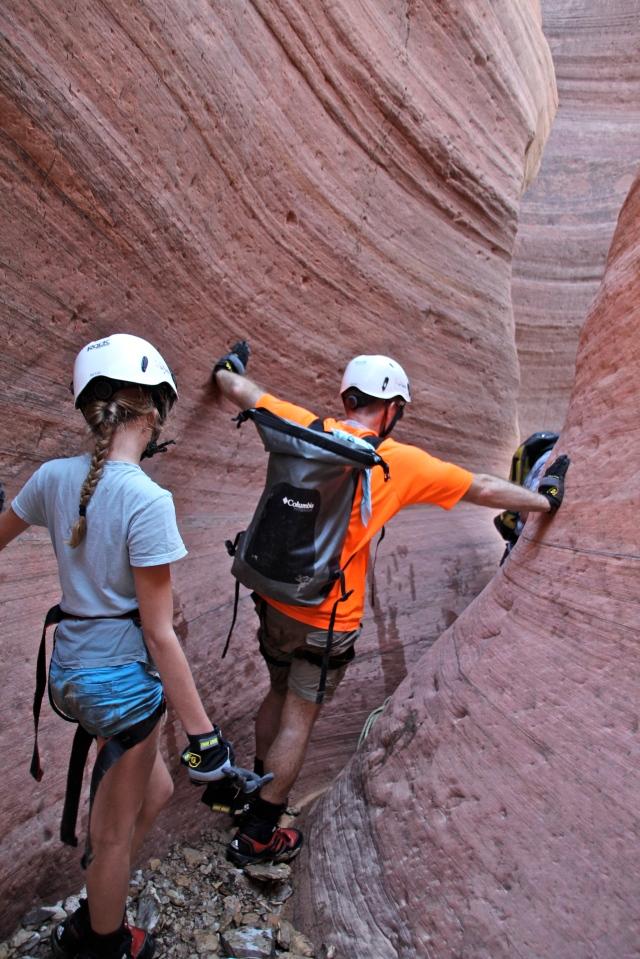 Narrow canyon walls.