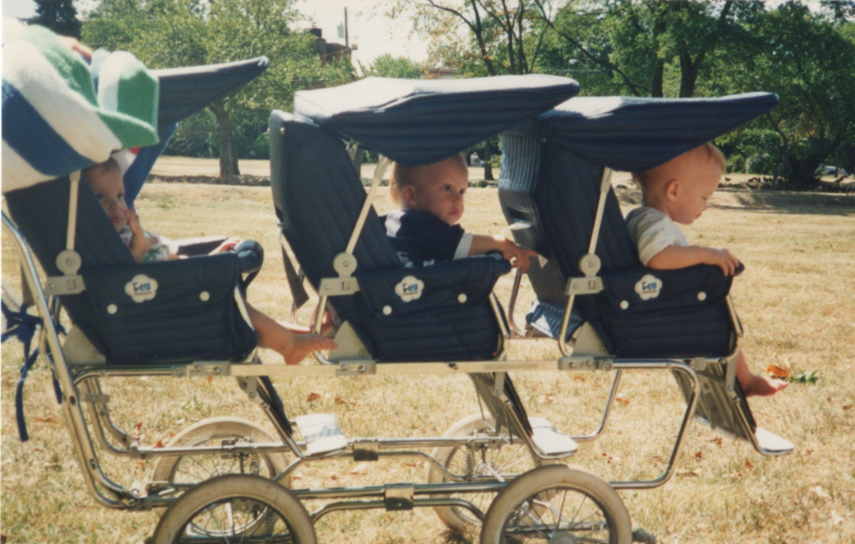 The triplet stroller turned heads.
