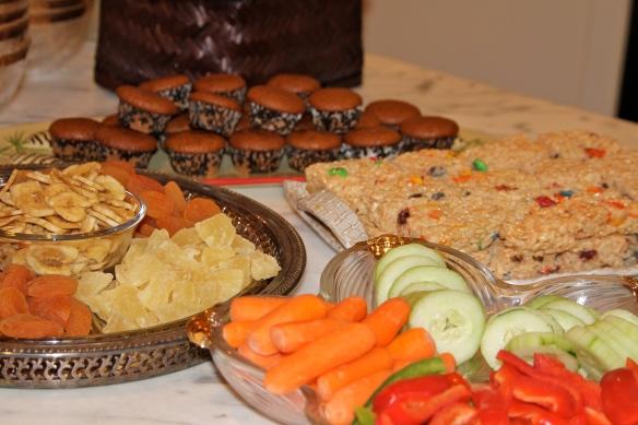 Dried Fruit, Pumpkin Mini Muffins, Rice Krispie Treats and Crudites.
