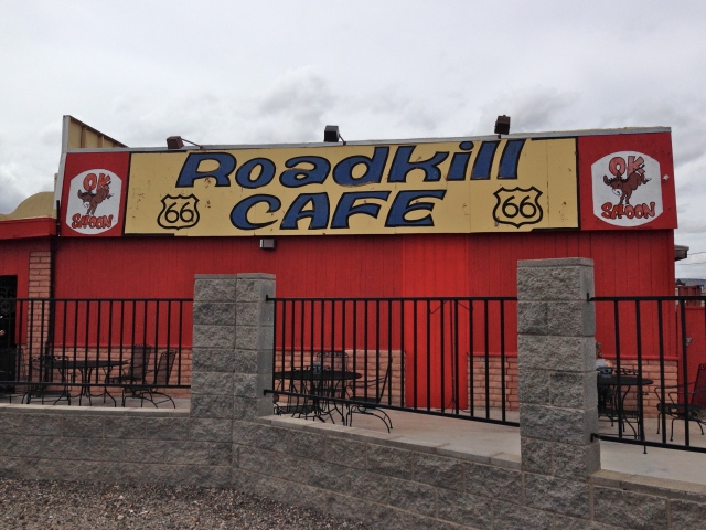 """Not only did Roadkill Cafe in Seligman, AZ have """"interesting"""" names for menu items (it's motto is """"You kill it, we grill it.""""), it had a room full of taxidermic animals. After a minute, the heebie jeebies kicked in and I had to get some fresh air. But, their mocha coffee was to-umm-die for."""