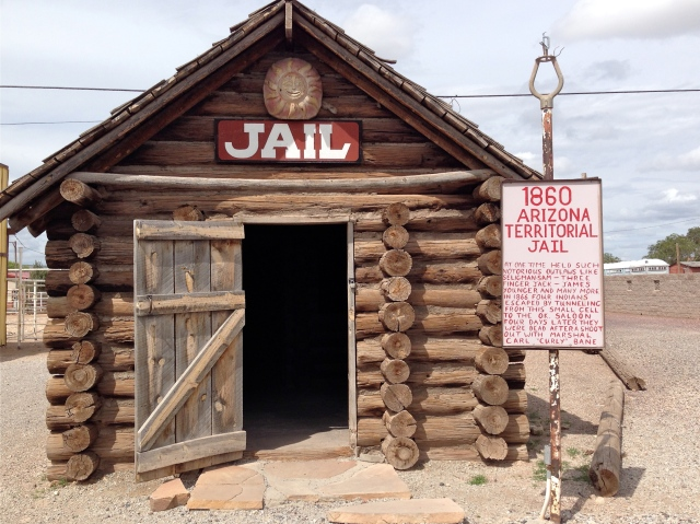 Jail in the Wild West was no joke!  There was a dirt floor, two wooden benches, one stove sitting in the middle and rifles on the wall.  Yikes!