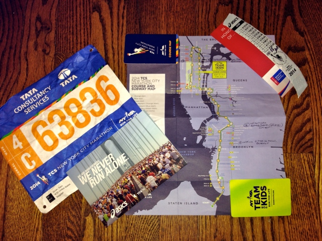 NYC Marathon course, bib, .and mile marker bracelet