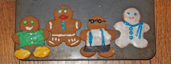 Little Boy, Gingerbread Man, Hipster and Snowman