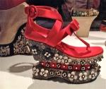Prada (Italian) Fuoco Silk and Lizard Platform, 2013