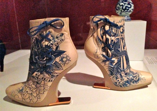Jean Paul Gaultier (French) Nude Tattoo Boots, 2012, leather, plastic, metal