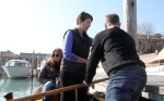 Our instructor, Nan, showing Hubby how to hold the oar.