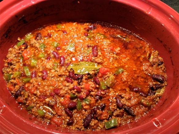 Chili in the crock pot.