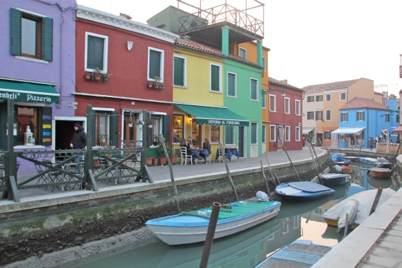 Shops along the canal, Burano.