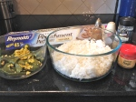 2.  Gather ingredients:  rice, sauteed veggies, spices, parchment paper.